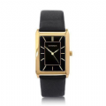 Sekonda 3284 Elegant Gents Gold Plated Black Faux Leather Strap Watch